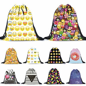 Emoji-Drawstring-Bag-Sports-Swim-Sack-Dance-Gym-PE-School-Kids-Backpack-Rucksack