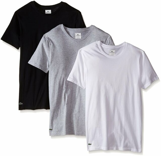 Lacoste 100/% Supima Cotton Men/'s White Crew Neck Classic Fit Undershirt T-shirt