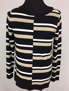 Dana Buchman Womens Size L Stretchy Long Sleeve Tan Black White
