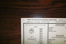 1980 Dodge Plymouth & Chrysler SIX Series 3.7 Litre 225 CI L6 1BBL Tune Up Chart