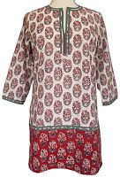 Anokhi Red And White Tunic Top - 100% Cotton - Hand Printed - 3/4 Sleeve