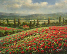 Oil Painting of Landscape Tree House on Red Poppy Flower Field by Mountain 16x20