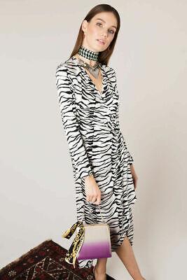 AUTH BNWT RIXO LONDON Maria Mini Wrap Dress Tiger Sequin size XS