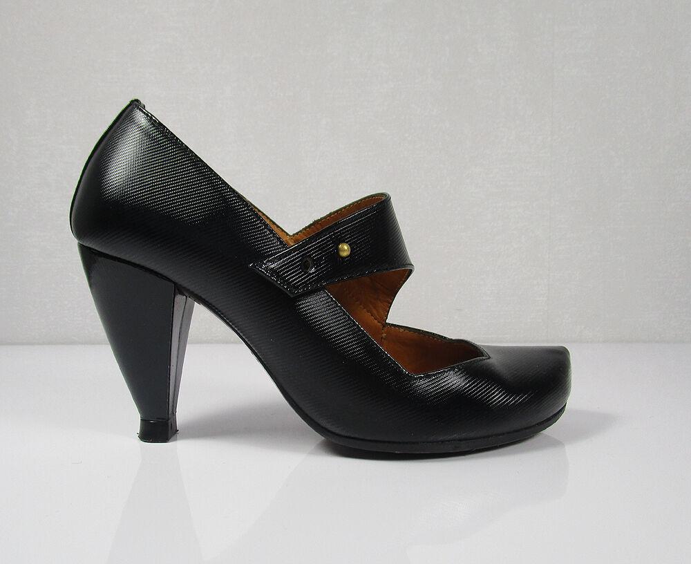 Chie Mihara 35 zapatos de salón Mary Janes negro cuero Print como nuevo NP