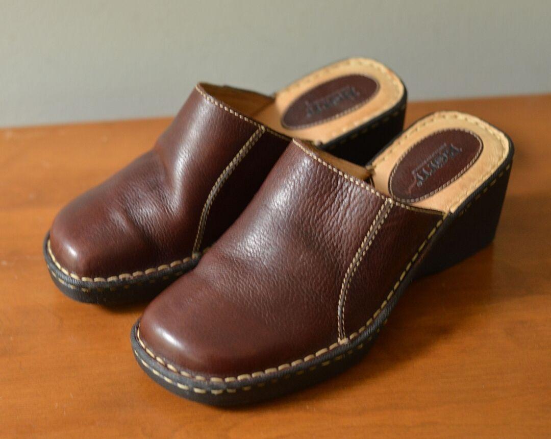 Born Women's 9/ Brown Slides Clog Wedge Heel Brown 9/ e4e919