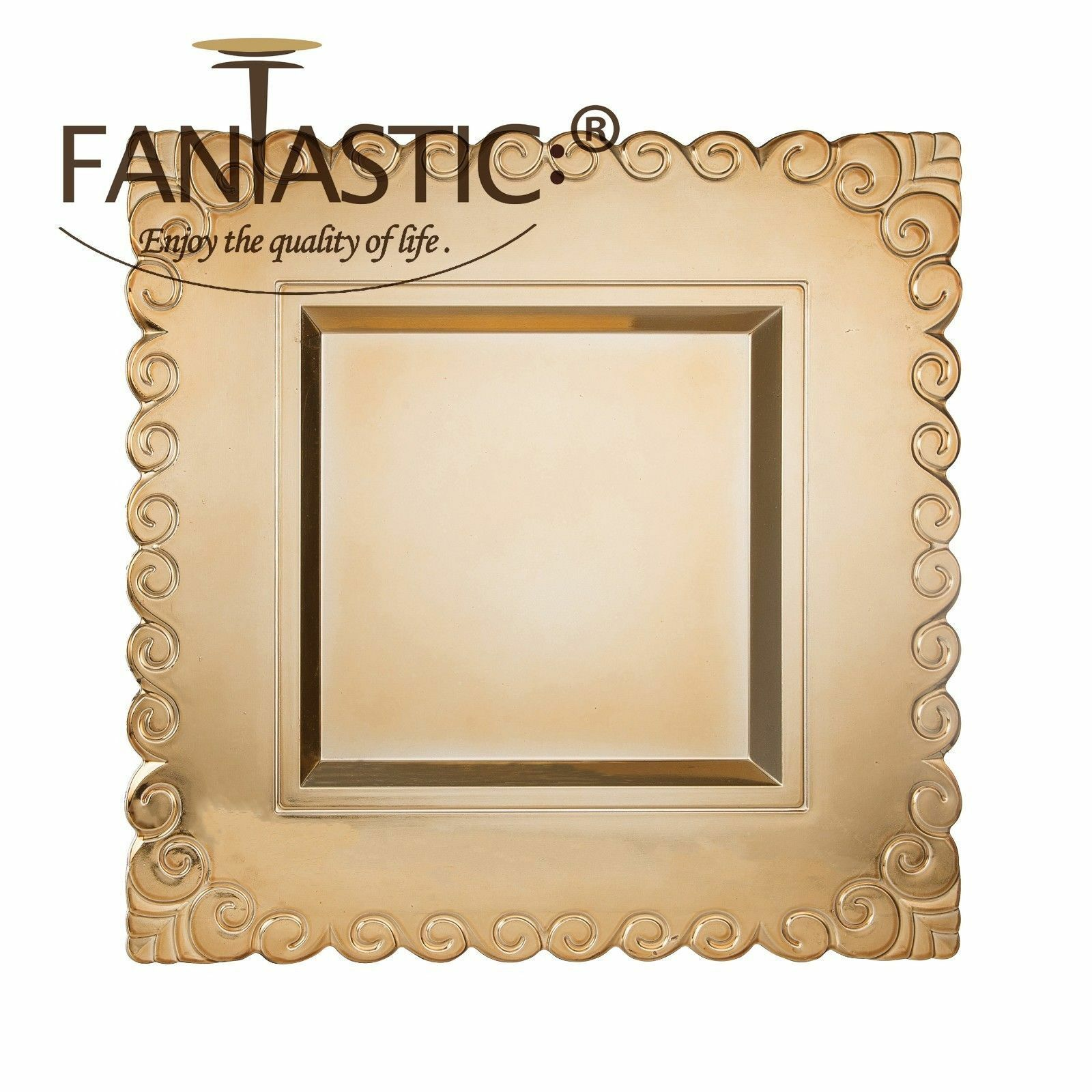 Fantastic )™ Square 13Inch Charger Plate With Shiny Finish Circle Edge Pattern