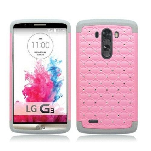 For LG G3 HYBRID IMPACT Dazzling Diamond Layered Case Phone Cover Accessory