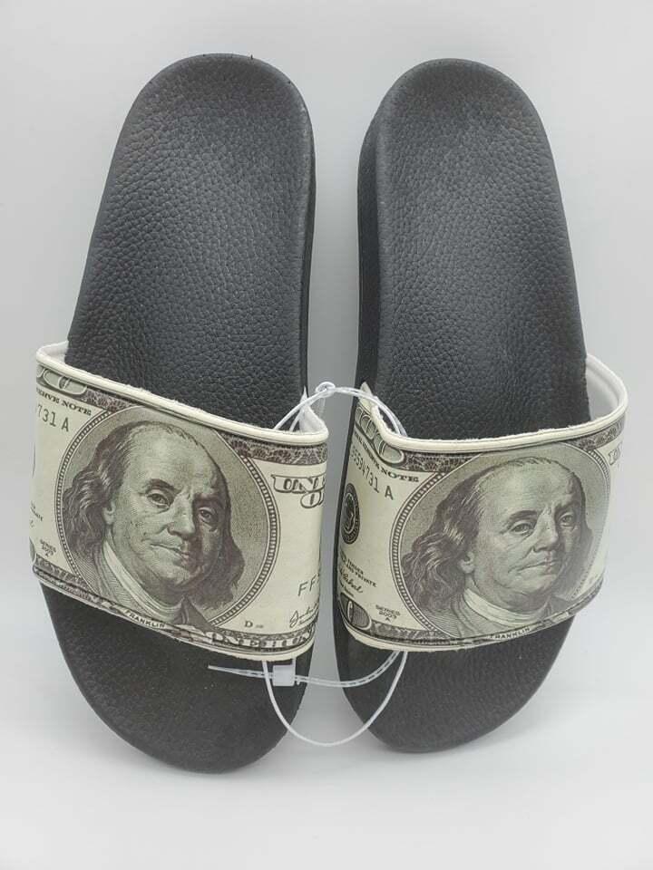 money print mens sandals one hundred dollar bill new attract wealth money rich