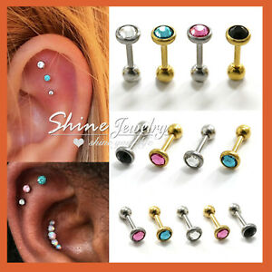 Gem Diamond Ear Cartilage Helix Piercing Stud Bar Barbell Screw