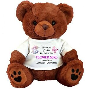 "PERSONALISED BROWN TEDDY BEAR 25CM/10"" SITTING FLOWER GIRL BRIDESMAID  WEDDING"