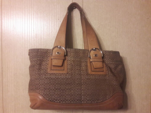 Brown Coach Bag , COACH Beige Tote Shoulder Bag F1