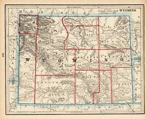 1892-Antique-WYOMING-MAP-Vintage-Original-Map-of-Wyoming-State-Map-7887