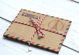 10-x-Kraftpapier-Mini-Briefumschlaege-im-Vintage-Look