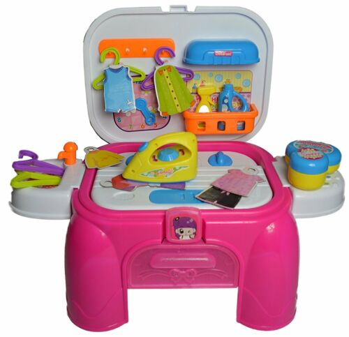 Pretend Washing and ironing Set for Kids Sounds /& Lights Carry Seat 10 Pcs UK