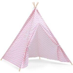 Tipi-d-039-indien-a-motifs-zebres-rose-et-blanc-pour-enfant