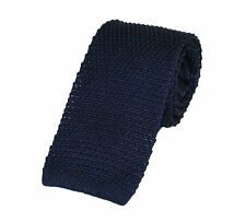 Men's Plain Navy Blue Silk Knitted Tie (N997/11)