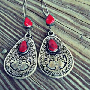 Vintage-Boho-925-Silver-Red-Ruby-Gemstone-Drop-Dangle-Hooks-Earrings-Jewelry