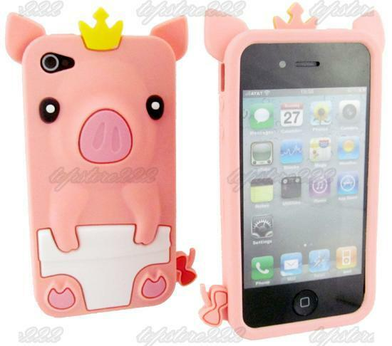 Cute Piggy Pink 3D Crown Pig Silicone Case Cover Skin For iPhone 4 4G 4S TSR