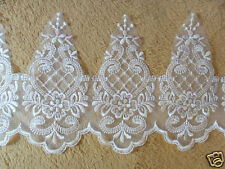 "White Bridal Wedding Embroidered Border Lace Trim Dress & Veil 6""w * BY-THE-YARD"