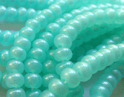 "Czech Glass Seed Beads Size 6/0 "" TERRA PEARL OPAL PEPPER MINT "" Strands"