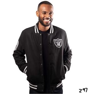 Ultra Game NFL Las Vegas Raiders Mens Classic Varsity Coaches Jacket Team Colr S