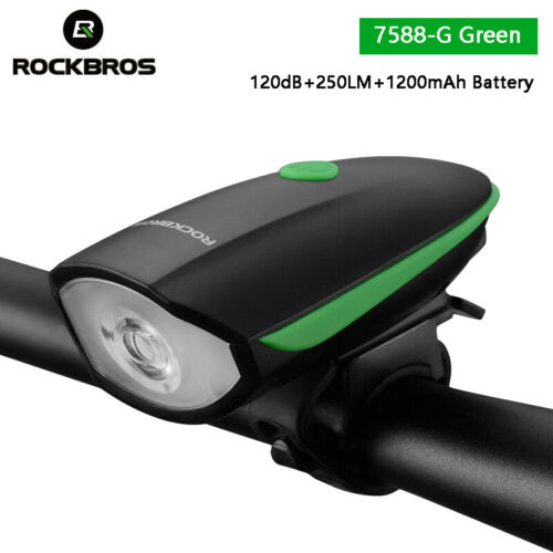 ROCKBROS Cycling 2 In 1 Bicycle 250 LM Headlight Horn Light 120dB Electric Bell