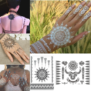 White-amp-Black-Henna-Tattoo-Lace-Body-Art-Fake-Temporary-Tattoo-Stencil
