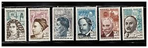 s23353-FRANCE-MNH-1962-Famous-persons-6v