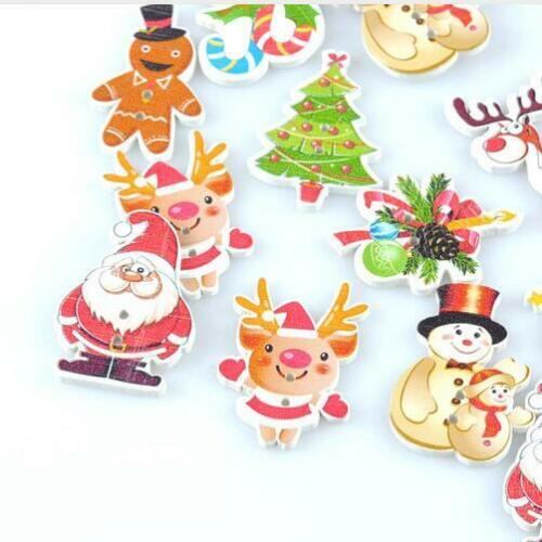 50X Mix Christmas botones de madera Flatback Scrapbooking Wooden Button Sewing