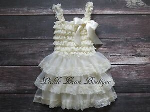 da3bd80a5b28 Girls 9-18 mo Ivory Lace Dress - Flower Girl Dress - Country Rustic ...