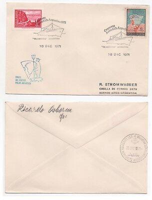 "Stamps 1971 Argentina Antarctic Cover ""tn Libertad"" Cruise Ship Philatelic Polar Sg1217"