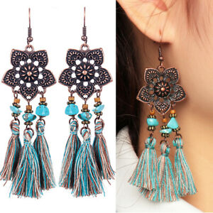 Women-Charm-Flowers-Earrings-Long-Tassel-Fringe-Boho-Dangle-Earrings-Jewelry-New