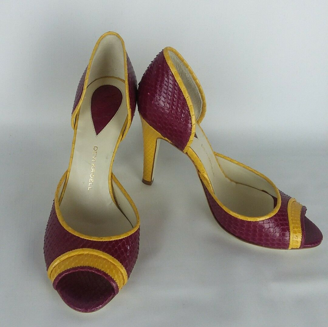 Devi Kroell yellow plum stilettos Python peep open Toe stilettos plum high heel schuhe US 6 EU36 9d5574