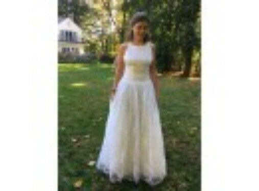 Ball Gown Crepe Bodice and Flocked Skirt