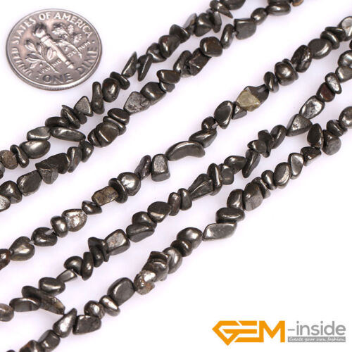 Natural Silver Gray Pyrite Gemstone Freeform Loose Beads For Jewelry Making 15/""