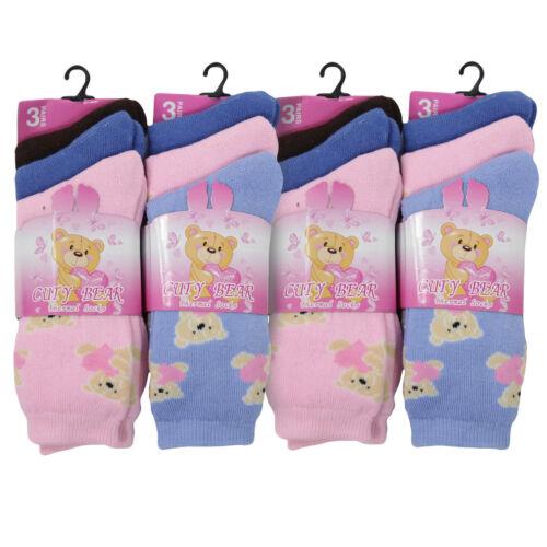 12 Paire Enfants Hiver Chaud Extérieur Thermique Ours Mignon Design Chaussettes Taille 12-3//9-12