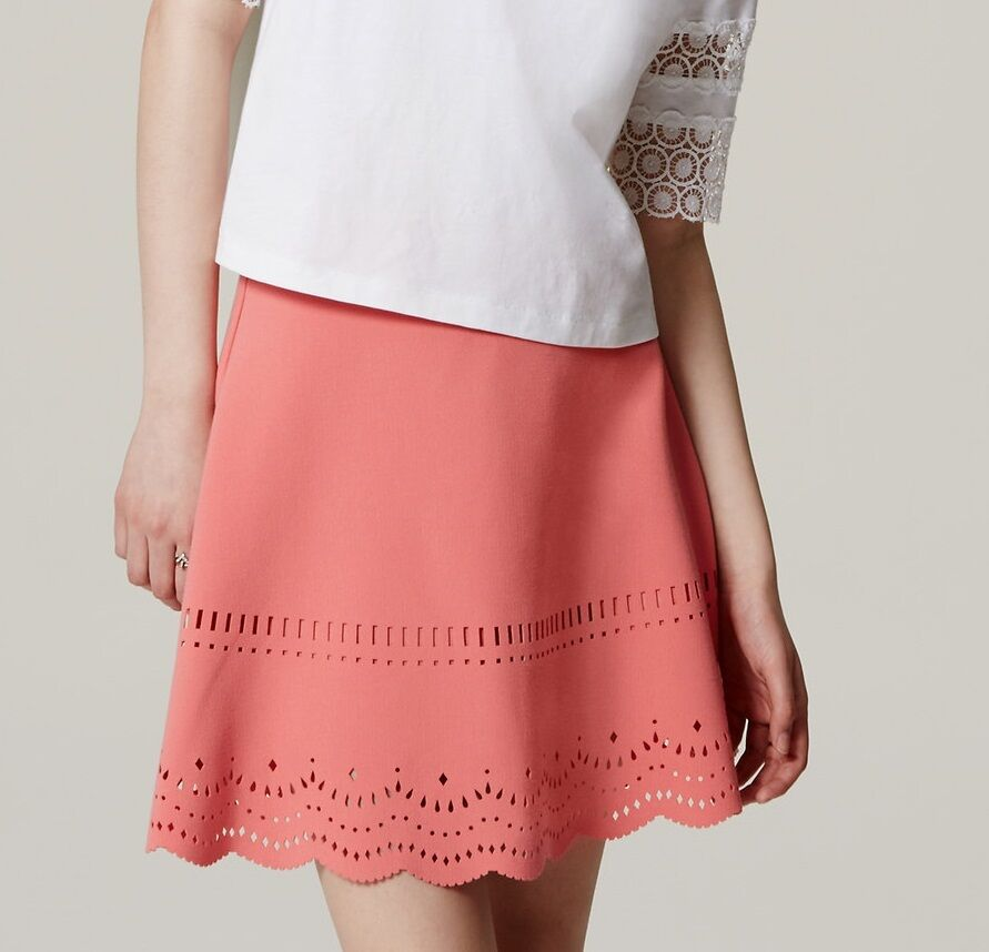 Ann Taylor LOFT Eyelet Scallop Skirt Size 2, 10 NWT Coral Peony color