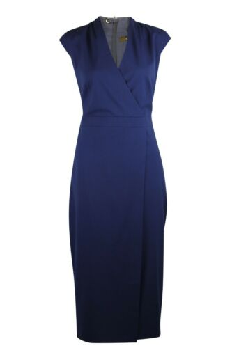 Womens Ladies Black Navy Blue Fitted Cap Sleeve Wrap Style Lined Dress Office