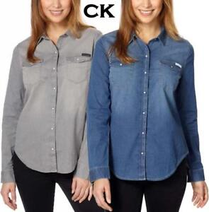 1f43acacd71f1 New Womens Calvin Klein Jeans Snap Button Front Edge Western Denim ...