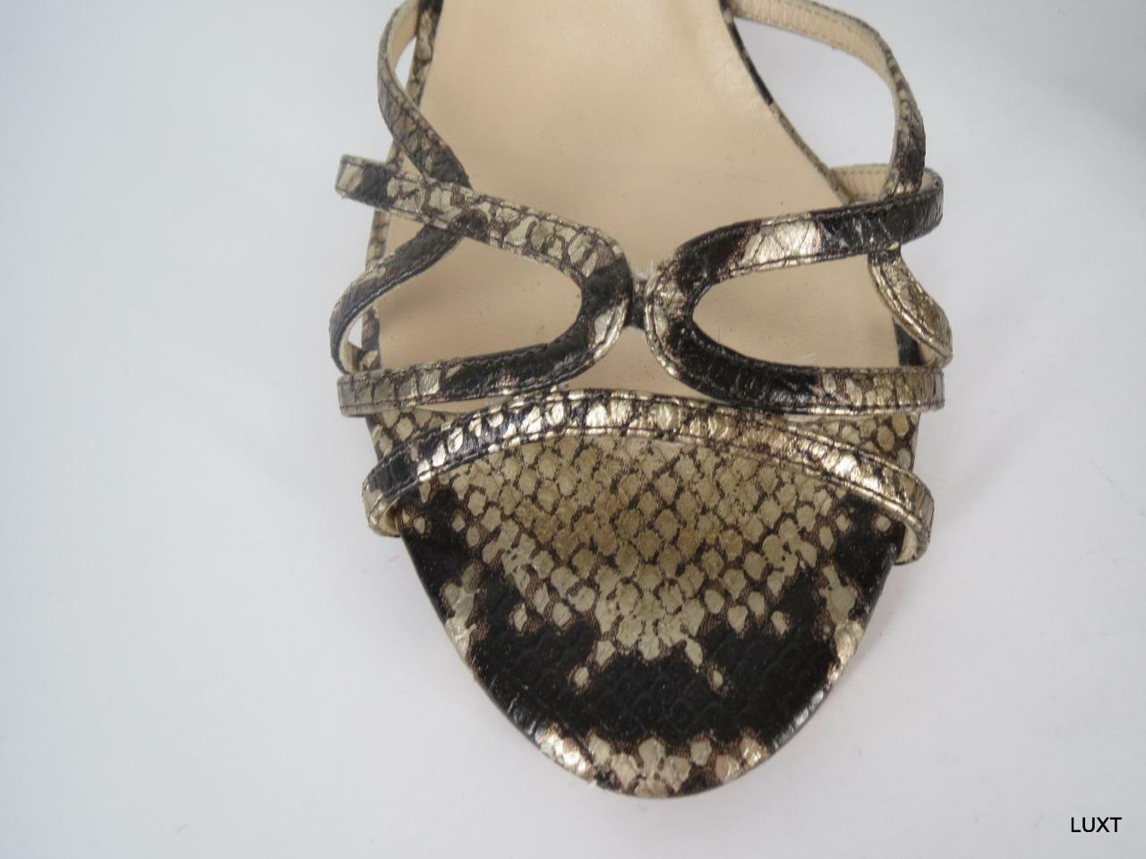 wholesape economico Jimmy Choo Heels Heels Heels Sandals Slides Dimensione 41 11 Leather Marrone Metallic Snake Print  migliore marca