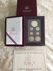1996-Prestige-US-Mint-Proof-Coin-Set-US-Olympic-Coins-with-Box-and-COA