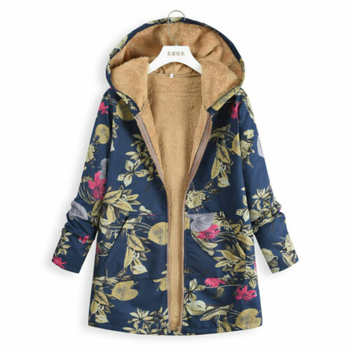 Womens Winter Warm Outwear Floral Print Hooded Pockets Vintage Coats Oversize