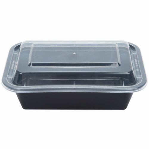 SafePro 24 oz 50-Piece Black Rectangular Microwavable Container with Clear Lid