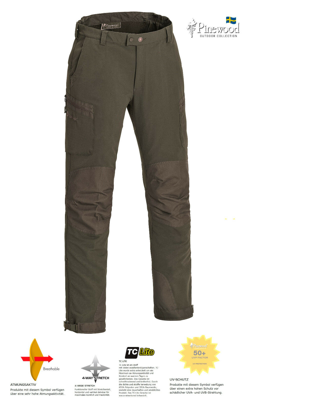 Pinewood Wildmark Stretch Herren Hose, Wanderhose, Outdoorhose