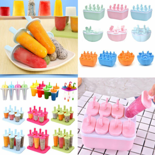 4//6//8 Cell Ice Cream Mold Juice Frozen Popsicle Maker DIY Ice Lolly Mould Tools