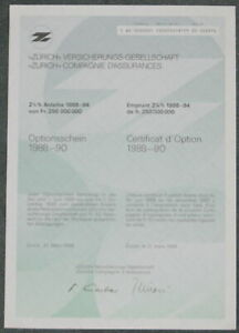 """""""zürich"""" Versicherungs-gesellschaft 1er-os 1988"""