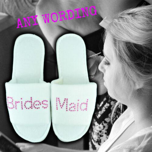 Personnalisé blanc pantoufles strass mariage spa invité éponge rose minuscule