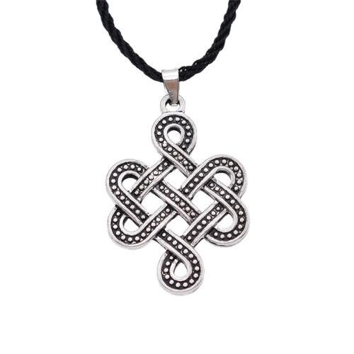 Viking Celtic Infinity Noeud Collier Pendentif Noir PU Cuir Chaîne Hommes Bijoux