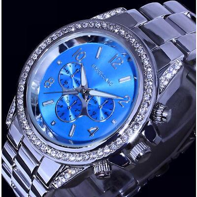 Excellanc Damenuhr Armbanduhr Uhr Hellblau Silber Farben Metall Strass SI