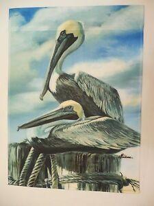 "Bird decorative Garden Flag 12/""x16/"" Two Pelicans sit on Coastal Dock Pylons"